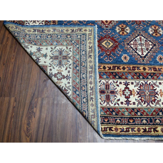 2010s Hand Knotted Blue Kazak Wool Rug For Sale - Image 5 of 13