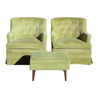 Drexel Upholstered Club Chairs With Matching Stool For Sale