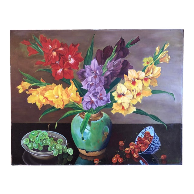 Still Life Gladiolus Flowers Oil Painting by Ed Monroe For Sale