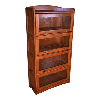 Crafters and Weavers Mission Style Quarter Sawn Oak 4 Stack Barrister Bookcases For Sale