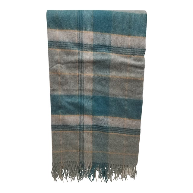 Merino Wool Throw Light Aqua Blues Grey Plaid - Made in England For Sale