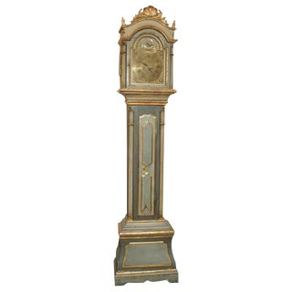 Danish 18th Century Painted Grandfather Clock For Sale