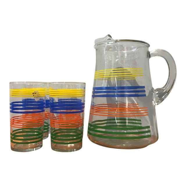 Deco Striped Pitcher and Glasses - Set of 4 - Image 1 of 4