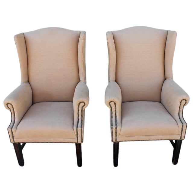Pair of Fantastic 1920s Wing Chairs in Mocha Linen For Sale