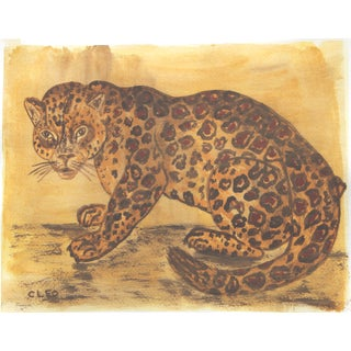 Leopard Paing in Old Master Colors by Cleo Plowden For Sale