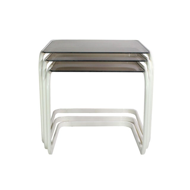 Hollywood Regency 1970's Vintage Milo Baughman for Dia White & Smoked Glass Nesting Side Tables - Set of 3 For Sale - Image 3 of 6