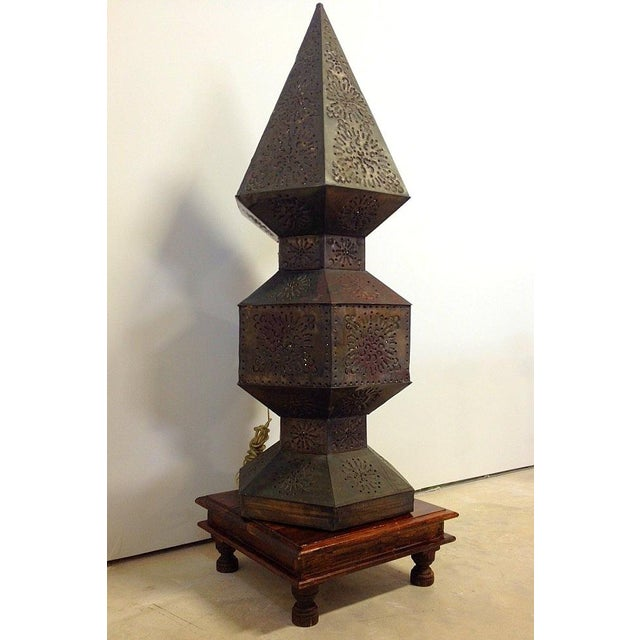 Peirced Tin Lamp on Wooden Base - Image 3 of 11