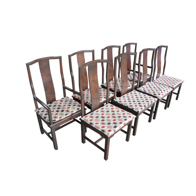 1970s 1970s Vintage Century Furniture Chinese Ming Style Burlwood Asian Dining Chairs- Set of 8 For Sale - Image 5 of 13