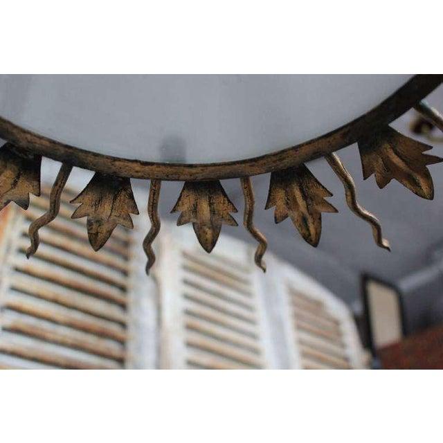 Spanish Gilt Metal Sunburst Flush Mount Ceiling Fixture - Image 2 of 8