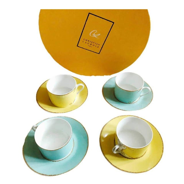 """Beautiful set made in France by Christian LaCroix. Each cup measures 2"""" tall and 3"""" diameter. Each saucer measures 6""""..."""