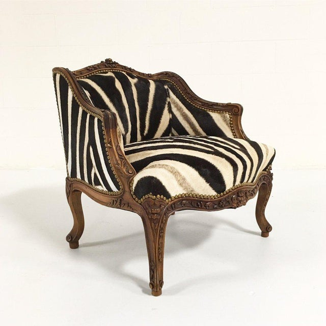 Vintage Carved Chair in Zebra Hide - Image 2 of 11
