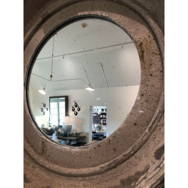 Metal 19th Century French Zinc Oeil De Boeuf Mirror For Sale - Image 7 of 8