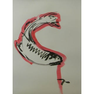 """""""Red Black Koi Fish"""" Contemporary Abstract Ink Wash Painting by Jose Trujillo For Sale"""