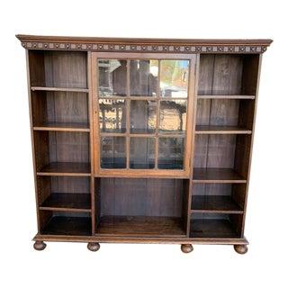 Vintage Oak English Open Bookcase For Sale
