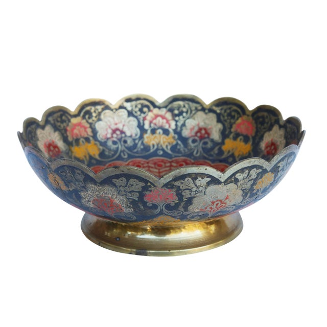 Peacock Engraved Moroccan Brass Bowl For Sale