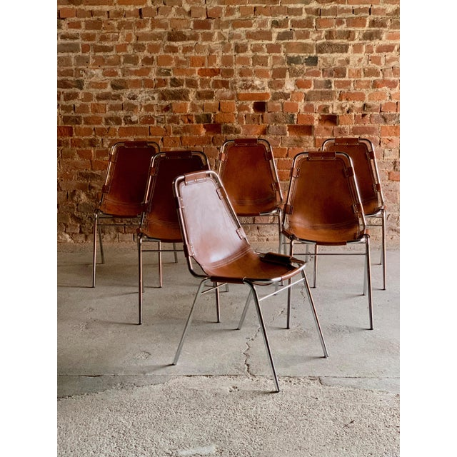 Mid-Century Modern Les Arcs Dining Chairs Leather, 1960s - Set of 6 For Sale - Image 3 of 13