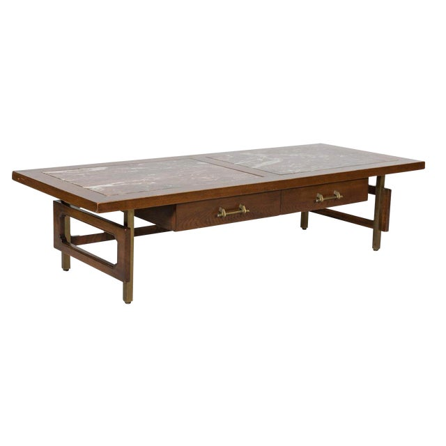 Grosfeld House Marble and Oak Coffee Table For Sale
