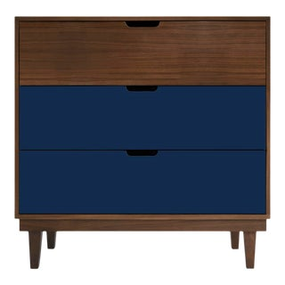 Nico & Yeye Kabano Modern Kids 3 Drawer Dresser Walnut Deep Blue For Sale