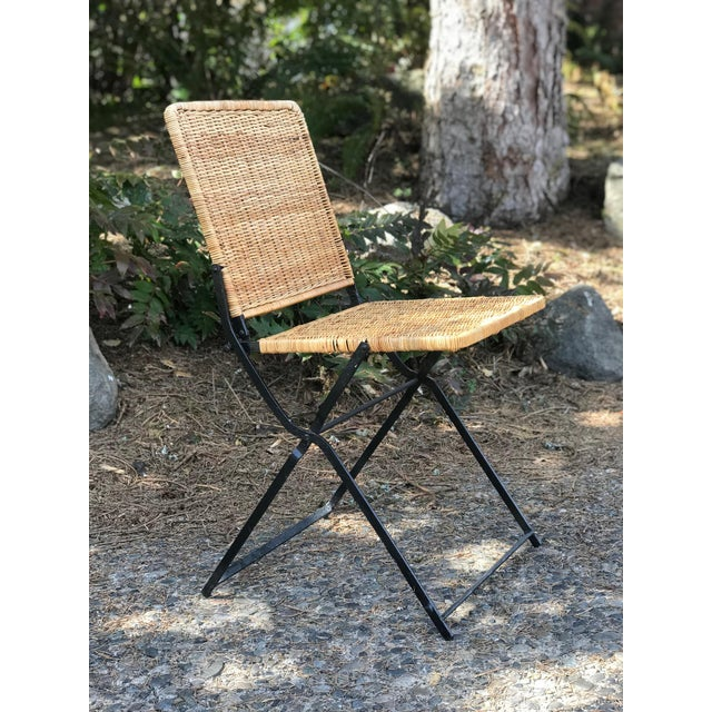 1960s Boho Chic Rattan & Wrought Iron Folding Chair For Sale - Image 9 of 9