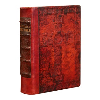 Early 20th Century Leather and Gilt Illustrated King James Version Family Bible For Sale