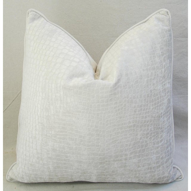 "Boho Chic Bone White Crocodile Velvet Feather/Down Pillows 24"" Square - Pair For Sale - Image 4 of 12"