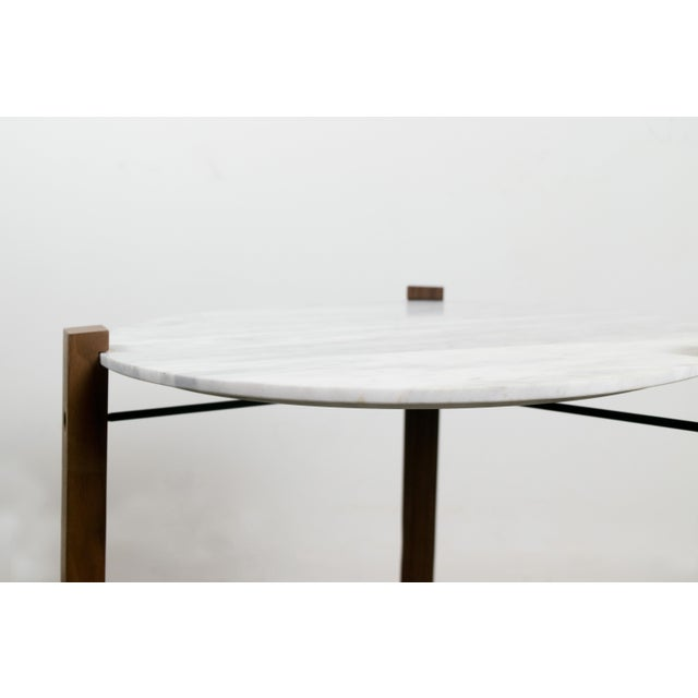 Minimalist Modern Teak and White Marble Side Table - Image 7 of 8