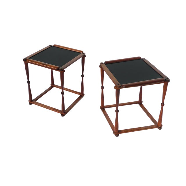 1940s Campaign-Style Collapsible Walnut End Tables - a Pair For Sale