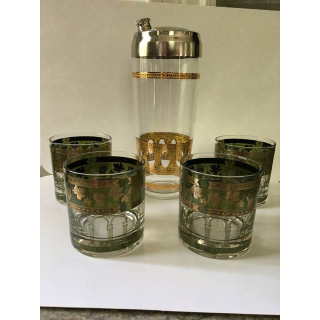 Green 1960's Art Deco Martini Shaker with Double Old Fashioned Glasses - 5 Pieces For Sale - Image 8 of 9