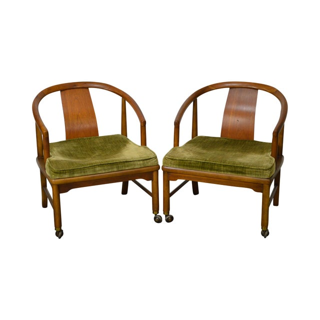 Edward Wormley Dunbar Style Mid-Century Barrel Back Chairs - A Pair - Image 11 of 11