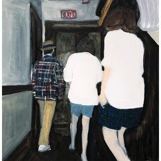 """""""Sneaking the Girls Out"""" Contemporary Figurative Oil Painting by Christy Powers For Sale"""