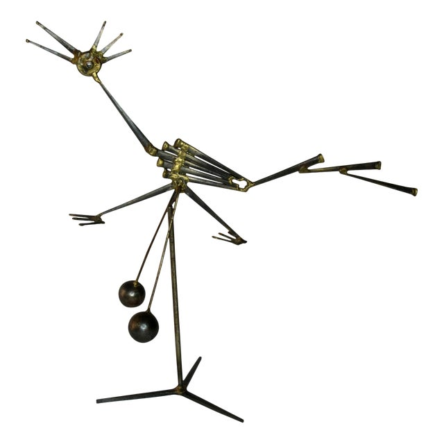 Mid Century Modern Kinetic Sculpture of a Road Runner Circa 1950s For Sale