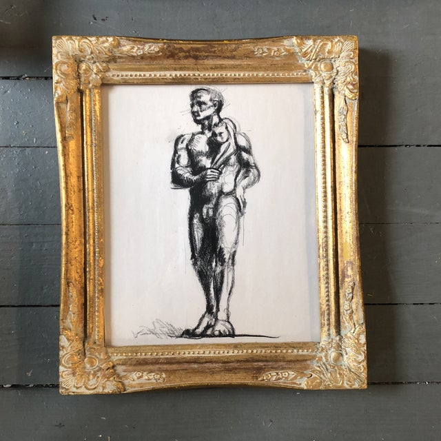 1950s Vintage Deco Male Nude With Cat Original Charcoal Study Drawing Ornate Frame For Sale - Image 5 of 5