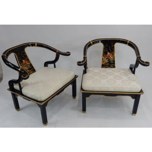 Century Black & Gold Chinoiserie Horseshoe Back Chairs - A Pair - Image 2 of 11