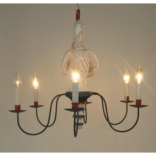 "Country French ""Rooster"" Chandelier For Sale - Image 4 of 11"