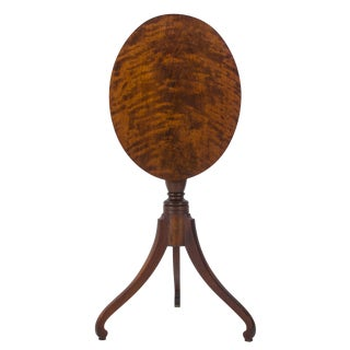19th Century Federal Cherry Tilt-Top Candle Stand For Sale