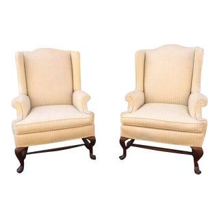 20th Century Queen Ann Hickory Chair Co. Cream Wing Back Arm Chairs - a Pair