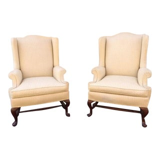 20th Century Queen Ann Hickory Chair Co. Cream Wingback Chairs - a Pair For Sale