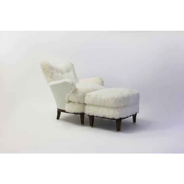 Animal Skin Shearling Covered Shaped Back Chair With Wood Base and Legs With Metal Cap Feet For Sale - Image 7 of 11
