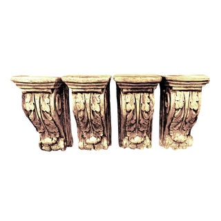 Large Neoclassical Scrolling Plaster Decorative Wall Brackets - Set of 4 For Sale