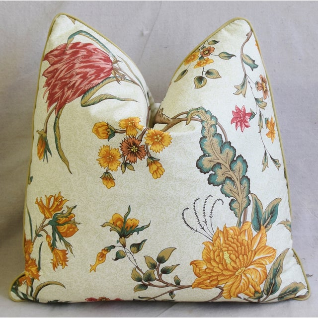 "Early 21st Century Schumacher Arbre Fleuri Floral & Ticking Feather/Down Pillows 20"" Square - Pair For Sale - Image 5 of 13"