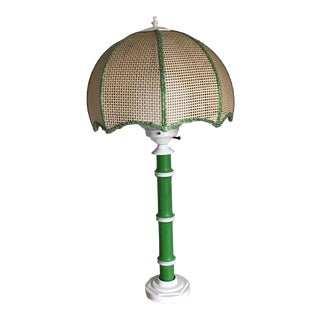Mid-Century Modern Green Faux Bamboo Lamp
