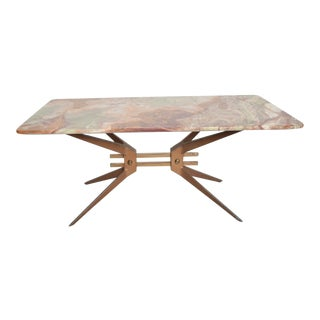Mid-Century Modern Italian Coffee Table With Marble Top After Gio Ponti For Sale