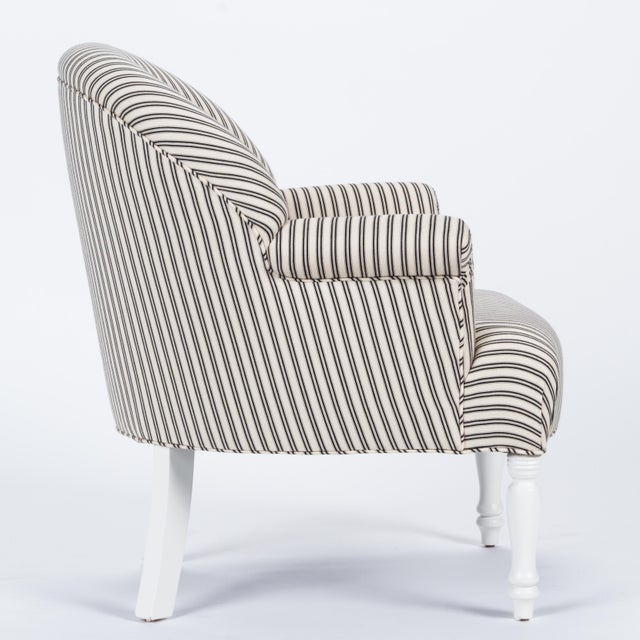 French Casa Cosima Napoleon III Chair in Black and Ivory Ticking, a Pair For Sale - Image 3 of 8