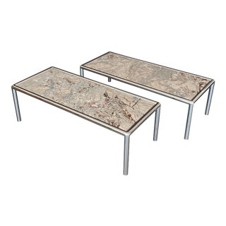Pace Collection Chrome and Marble Coffee Tables - a Pair For Sale