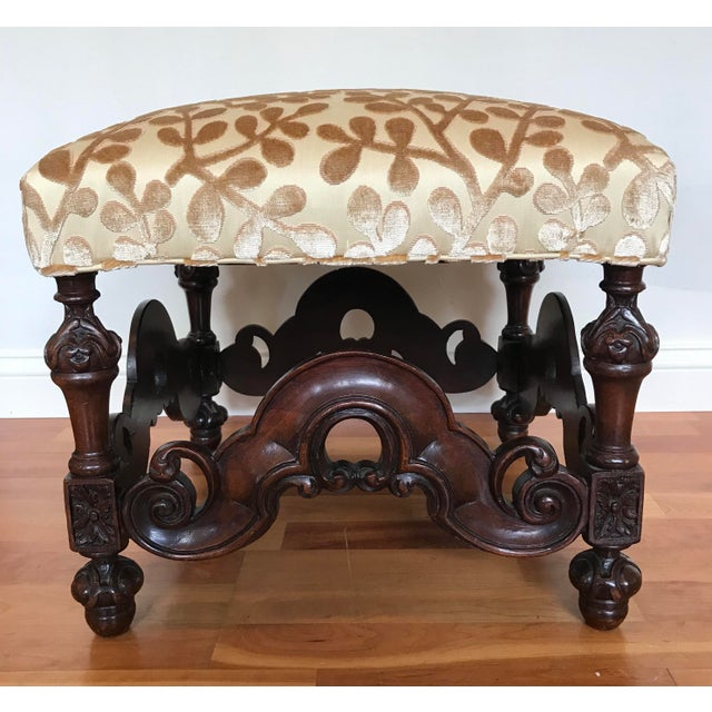 English Charles II Style English Jacobean Tutor Mahogany Footstool Upholstered in Beacon Hill Sommer Sonata - a Pair For Sale - Image 3 of 13