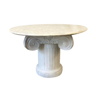 Vintage Marble Top Round Column Base Dining Table