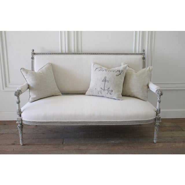 19th C. Painted Rose Carved Louis XVI Style Settee | Chairish