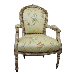 Antique Louis XVI Style Giltwood Upholstered Open Armchair For Sale