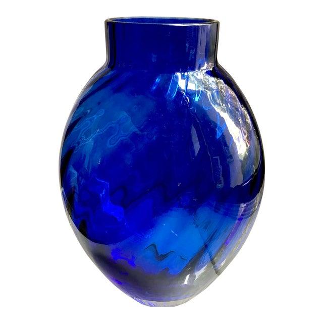 Vintage Tiffany Co Cobalt Blue Optic Swirl Crystal Vase Chairish