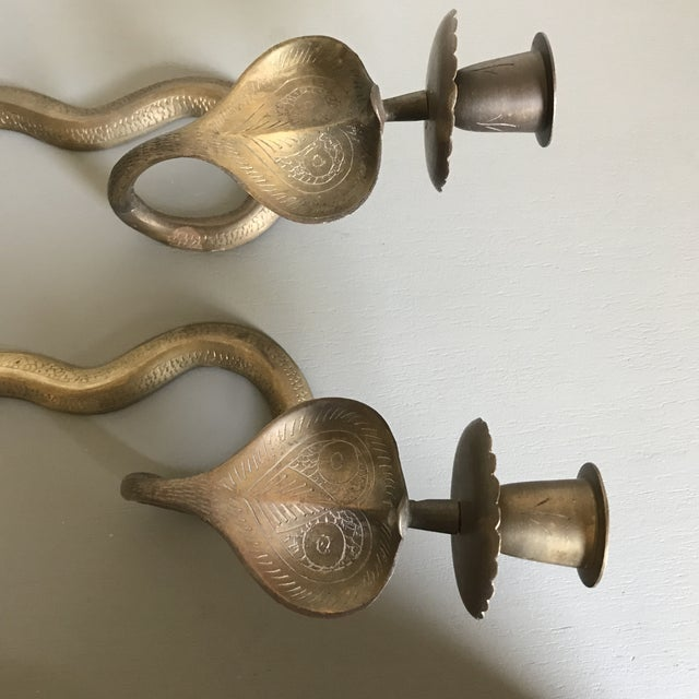 Vintage Brass Cobra Wall Sconces - a Pair For Sale - Image 4 of 4